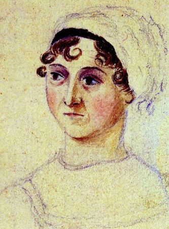 Enlarged portion of an undated portrait of Jane Austen by her sister, Cassandra Austen.