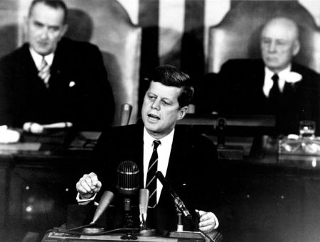 John F. Kennedy speaking to Congress in 1961.