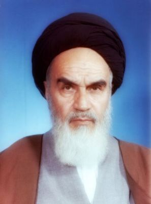 Official portrait of Ayahtollah Khomeini in 1981.