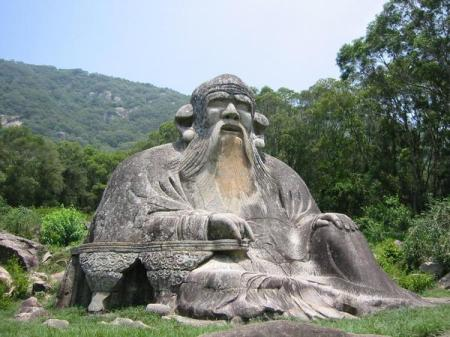 Song Dynasty stone sculpture of Laozi at the foot of Mount Qingyuan (960-1279).