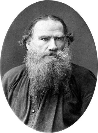 A photograph of Leo Tolstoy taken between 1880 and 1886. It may be found in the Library of Congress, Washington, D.C.