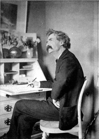 Undated photograph of Mark Twain (possibly 1880).