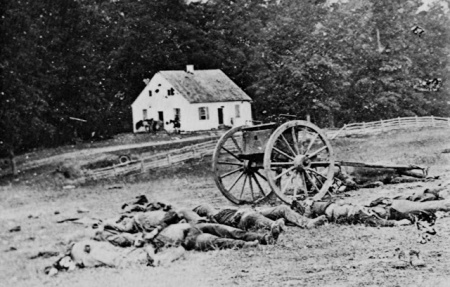 Alexander Gardner's iconic photo of dead soldiers on the Antietam battlefield.