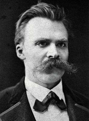 A photograph of Friedrich Nietzsche from about 1875, taken by F. Hartmann.