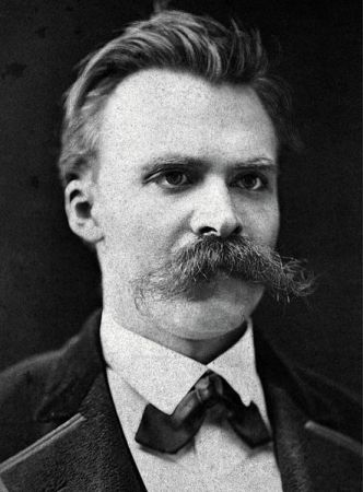 A photograph of Friedrich Nietzsche from about 1875, taken by F. Hartmann.