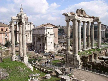 The ruins of the Roman Forum, the center of Roman life for many centuries.