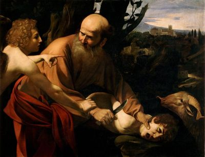 Caravaggio's Sacrifice of Isaac (1603), depicting Abraham in story from Book of Genesis.