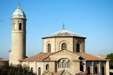 An exterior view of San Vitale in Ravenna, an example of