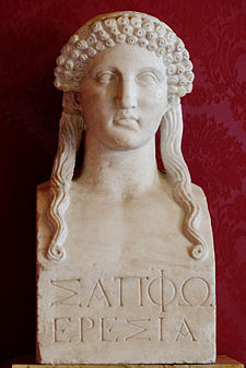 Bust of Sappho in Musei Capitolini, Rome. Roman copy of a 5th Century Greek original.