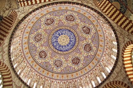 The interior of the Selimiye Mosque dome.