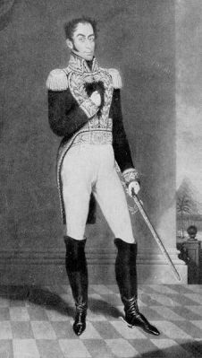 A portrait of Simón Bolívar. It is a lae 19th or early 20th Century copy of an original work made before 1830.