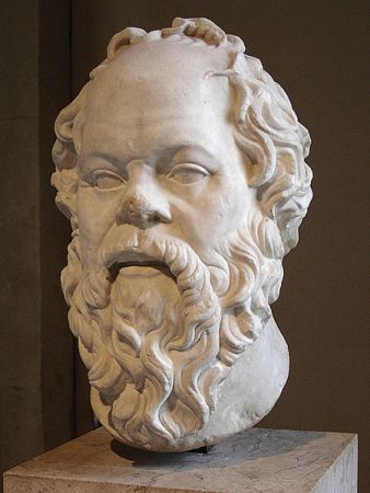 Head of Socrates in the Louvre, Paris. Probably a 1st Century CE Roman marble copy of Greek bronze original by Lysippos.