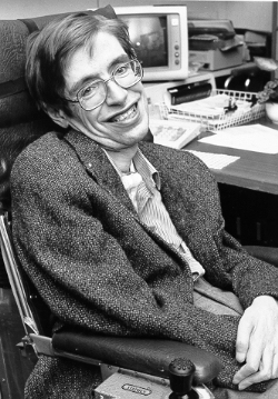 Stephen Hawking during a visit to NASA in the 1980s.