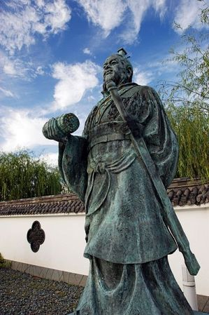 Statue of Sun Tzu in Yurihama, Tottori, Japan.