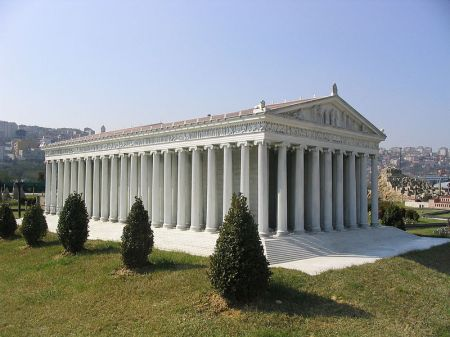 This is a small-scale model of what the Temple of Artemis, one of the Seven Wonders of the Ancient World, may have looked like before it was destroyed in 401 CE.