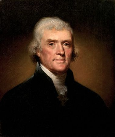 This 1800 portrait of Thomas Jefferson by Rembrandt Peale hangs in the White House, Washington, D.C.