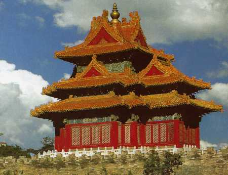 One of the corner towers of the Forbidden City.