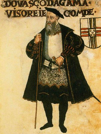 A portrait of Vasco da Gama from a 1565 manuscript.