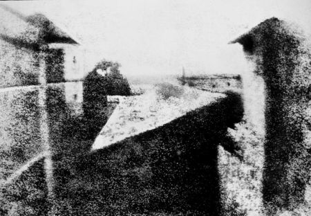 "The first photograph, from 1826, ""View from the Window at Le Gras."""
