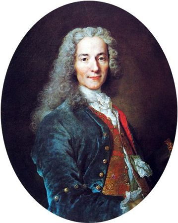 A portrait of Voltaire by Nicolas de Largillière from 1724-1725. It is located at the Palace of Versailles in France.