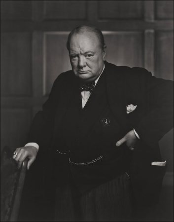 Portrait of Winston Churchill.