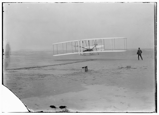 The Wright Brothers' first powered flight, December, 1903.