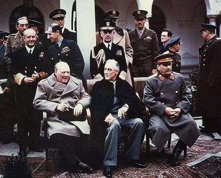 Winston Churchill, Franklin Roosevelt and Joseph Stalin at Yalta.