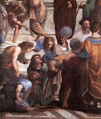 Zoroaster (with globe) in detail from Raphael's The School of Athens (1509).