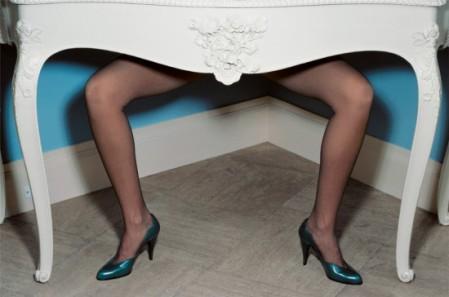 guy bourdin charles jourdan legs under table