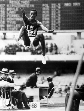 A photo of Bob Beamon's record-breaking long jump, by Tony Duffy.