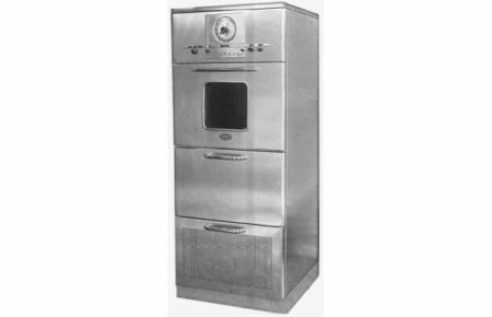 Raytheon's first commercial microwave oven, introduced in 1947, stood six feet tall.