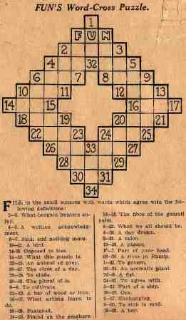 Arthur Wynne's original 1913 crossword puzzle.