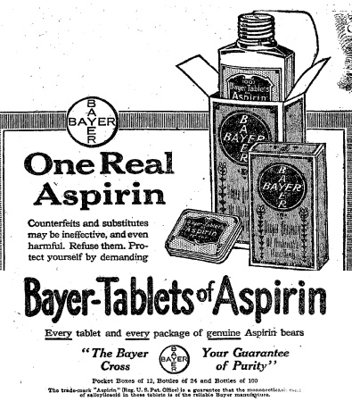 A 1917 newspaper ad for Bayer aspirin.