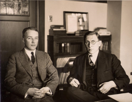 Frederick Banting (right) and Charles Best in 1924.