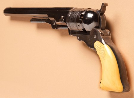 This is one of the few remaining Colt Paterson revolvers, the first model produced by Samuel Colt in 1836.