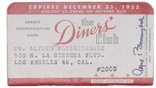 The Diners' Club card of Alfred Bloomingdale, owner of Bloomingdale's, from 1952.