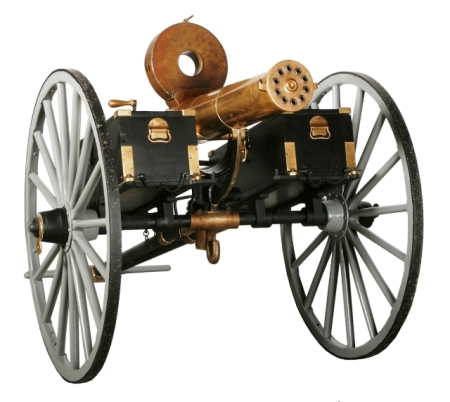 A Gatling gun from the American civil war era, 1861-1865.
