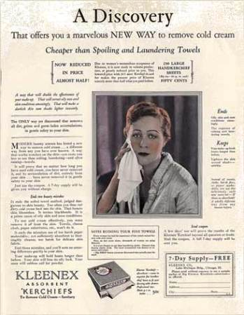 A 1920s advertisement for Kleenex as a cold cream remover.