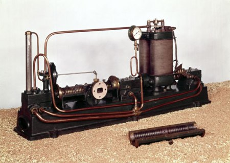 charles Parsons' experimental prototype steam turbine from 1884.