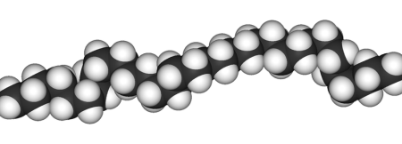 A 3-D model of a polyethylene molecule.