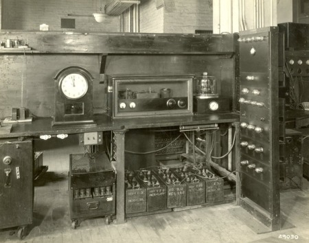 The first quartz clock, built in 1927 by Marrison and Hold at Bell Labs.