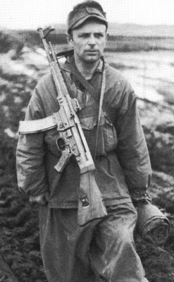 A German soldier at the Russian front carrying an SG-44 assault rifle during World War II.