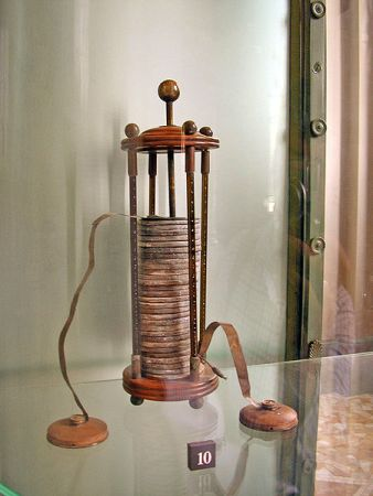 One of Allessandro Volta's early voltaic piles on display at his museum in Como, Italy.