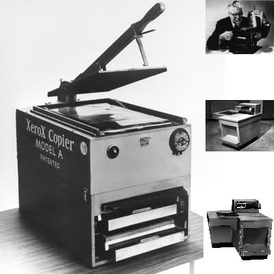 On the left is the first Xerox copier, from 1949. On the top right is Chester Carlson with his original 1938 prototype