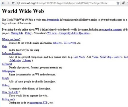 Tim Berners-Lee set up this web page - perhaps the first - in 1991.