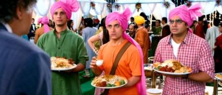 Aamir Khan (center), Sharman Joshi and R. Madhavan in 3 Idiots (2012).