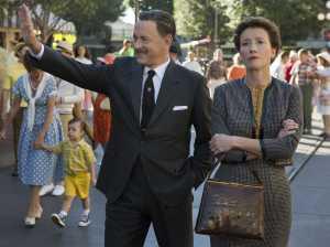 Emma Thompson as P.L. Travers and Tom Hanks as Walt Disney in Saving Mr. Banks (2013).