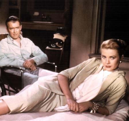 Grace Kelly and James Stewart in Rear Window (1954).