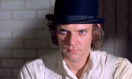 Malcolm MacDowell in Stanley Kubrick's A Clockwork Orange (1971).