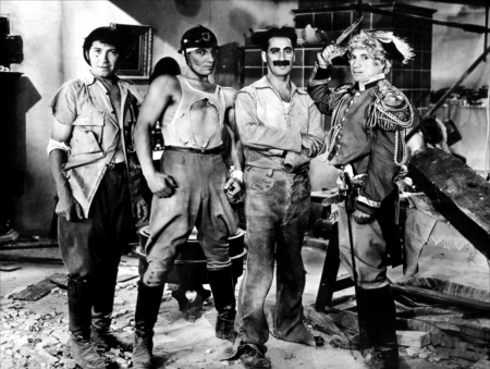 The four Marx Brothers in Duck Soup (1933) (from left, Chico, Zeppo, Groucho and Harpo).